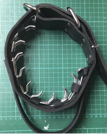 Leather Agitation Collar with Attachment for Prong Collar
